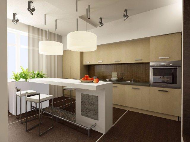 Светло-коричневая кухня-студия