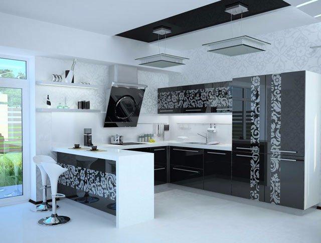 Расписная кухня в стиле модерн