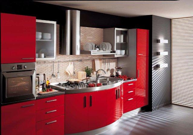 Дизайн черно-красной кухни