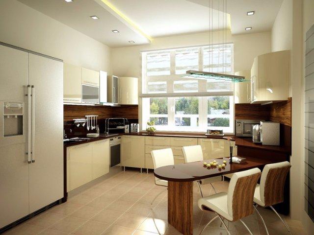 Светлая кухня с большим холодильником