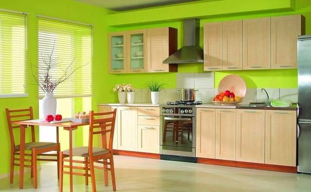 Дизайн кухни в ярко-зеленых оттенках