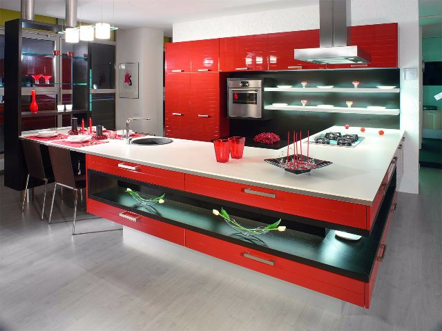 Интерьер кухни в японском стиле красного цвета