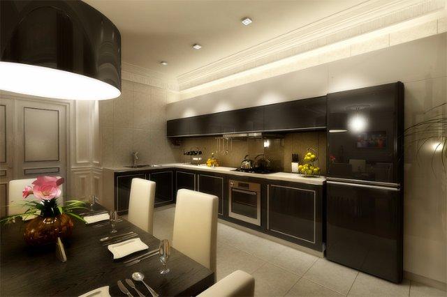 Красочный дизайн кухни в темных приглушенных тонах