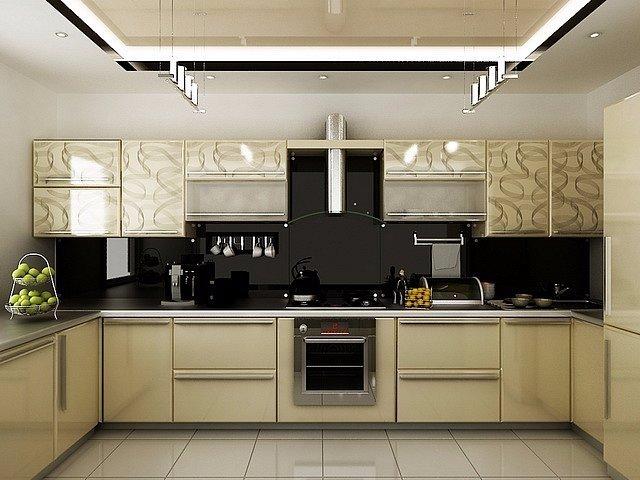 Дизайн интерьера кухни в золотом цвете