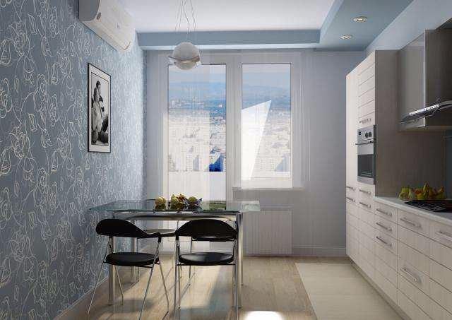 Интерьер голубой кухни небольшой площади