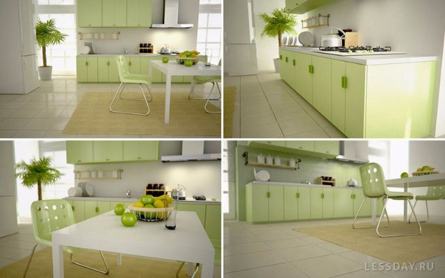 Как из светло-зеленой кухни сделать изюминку в интерьере