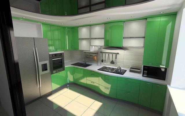 Большая кухня с преобладающим зеленым цветом в интерьере