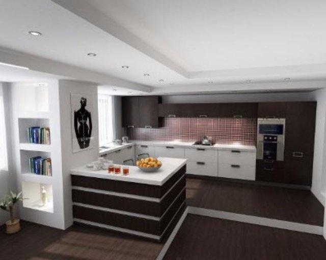 Идея для светло-коричневой кухни из дерева