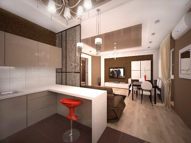 Кухня-студия с современным дизайном