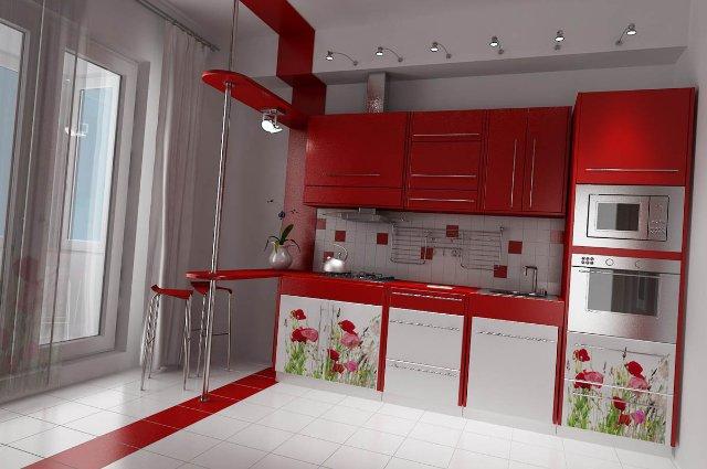 Дизайн красной кухни для ценителей флористики