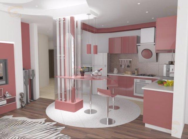 Нежный дизайн интерьера кухни в розовых тонах