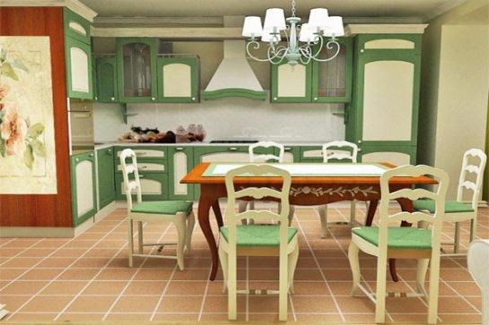 Просторная кухня-столовая зеленого цвета