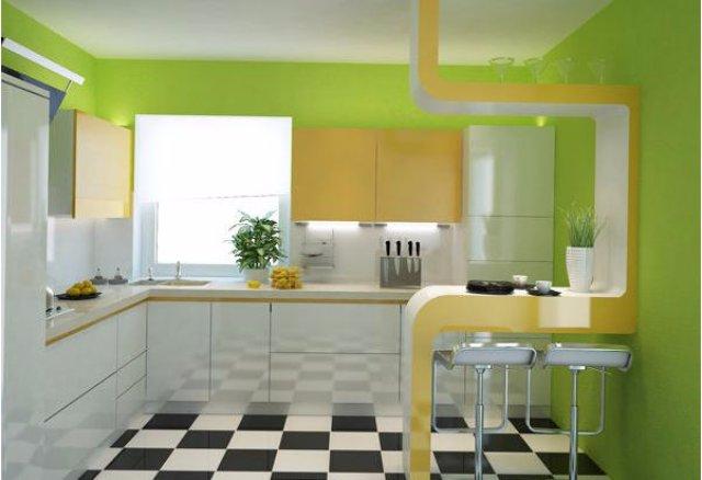 Дизайн небольшой кухни салатового цвета