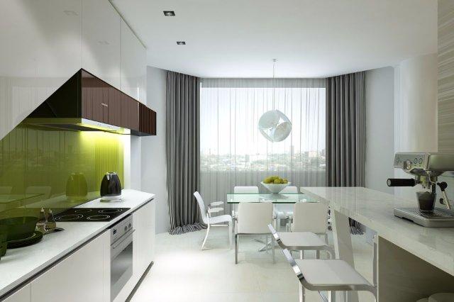 Как оформить кухню с панорамным остеклением