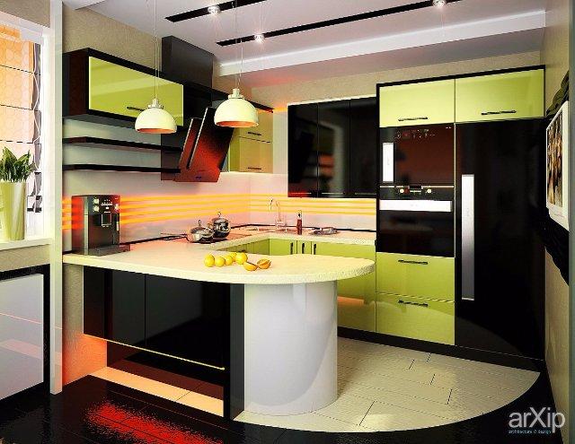 Интерьер кухни в черно-зеленом стиле