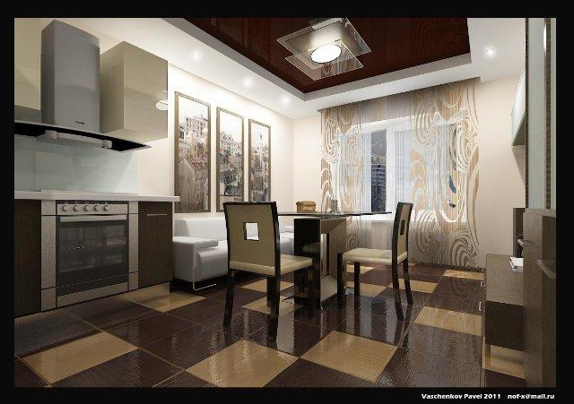 Интерьер кухни в карамельном цвете