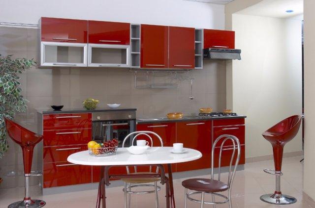 Дизайн кухни кровавого цвета