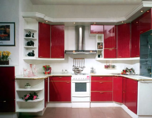 Бело-красная кухня. Вариант дизайна