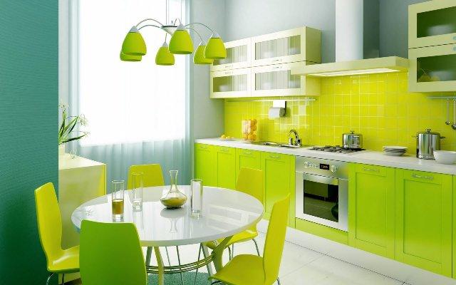 Современный дизайн ярко-салатовой кухни