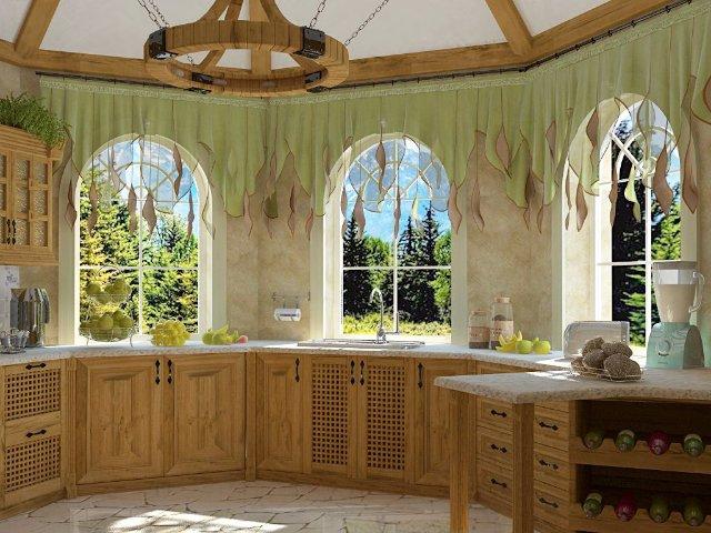 Дизайн кухни для большого частного дома из дерева