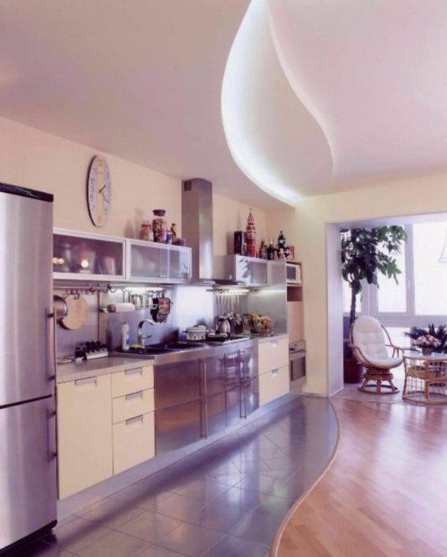 Дизайн кухни, плавно переходящей в гостиную