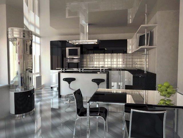 Стильный дизайн кухни в темных тонах