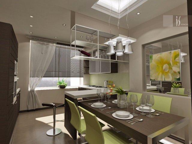 Кухня кофейного цвета с зелеными элементами