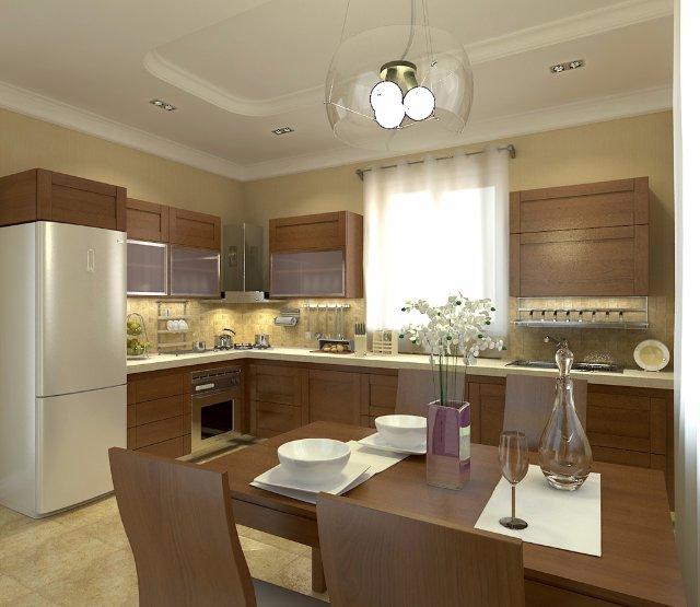 Кухня в теплых тонах с коричневым акцентом