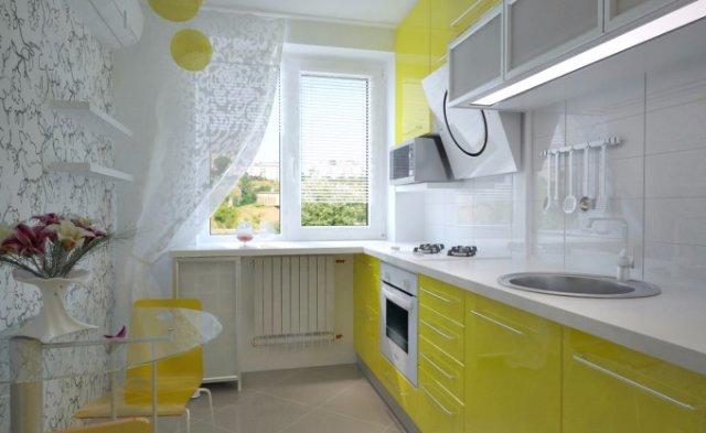 Бело-желтая кухня. Простой и лаконичный дизайн.