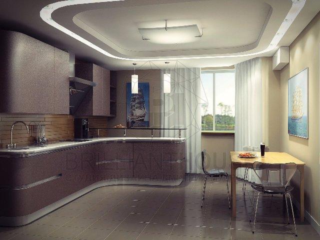 Просторная кухня в темных тонах