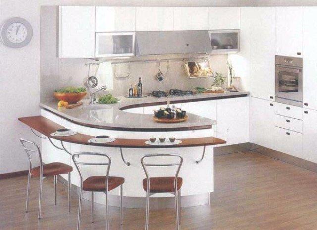 Дизайн кухни с полукруглой барной стойкой