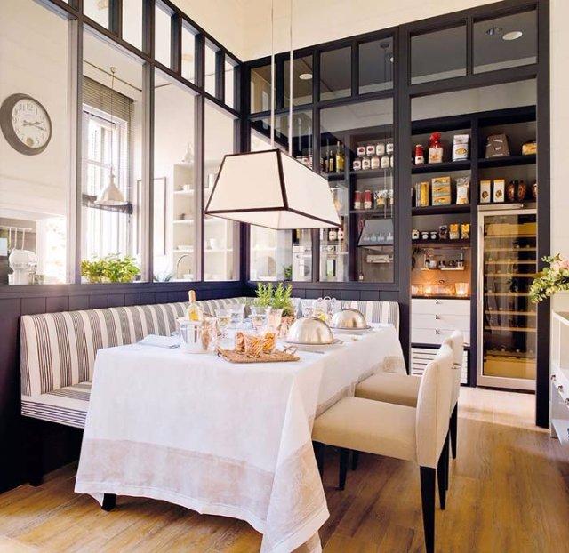 Необычный вариант дизайна кухни-столовой