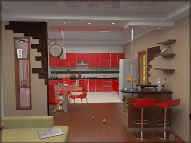Кухня с рабочим пространством для хозяйки