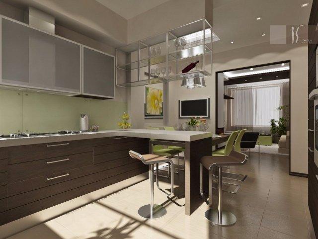 Дизайн коричнево-оливковой кухни