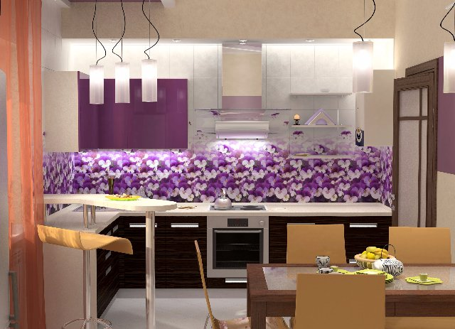 Дизайн кухни фиолетового цвета с использованием цветов