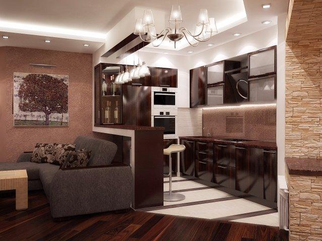 Большая кухня с кирпично-кофейным интерьером. Смотрится великолепно!