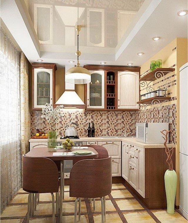 Маленькая, но стильная и уютная кухня. Дизайн доступный всем.