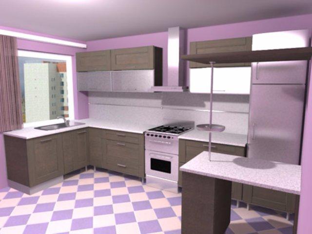 Дизайн кухни для любителей фиолетового