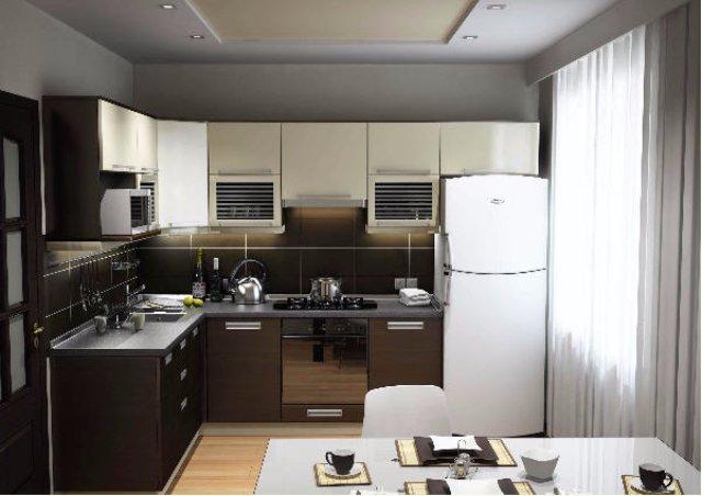Дизайн черно-металлической кухни