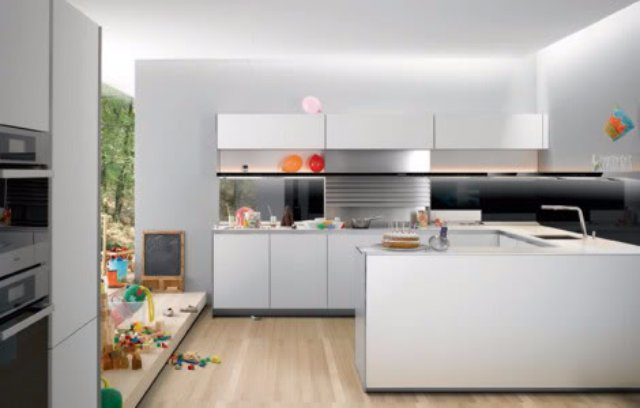 Кухня с панорамным остеклением