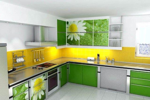 Желто-зеленая кухня для любителей ромашек