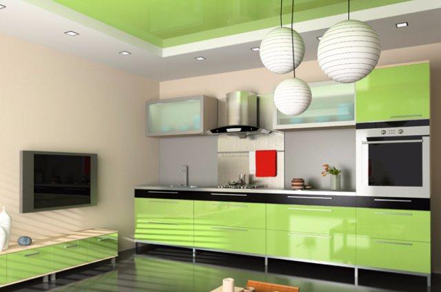 Салатовая кухня-студия для молодежи