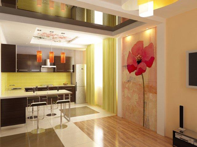 Оформление кухни-студии с красивым потолком