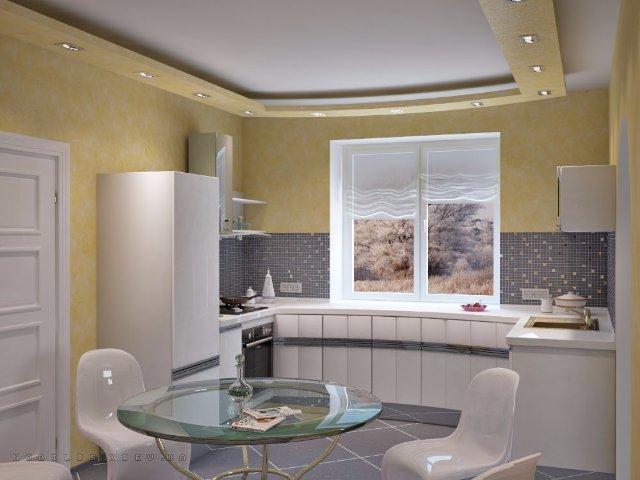 Небольшая желто-белая кухня в классическом стиле