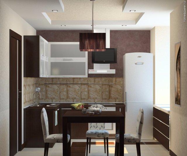 Дизайн маленькой кухни в темном исполнении