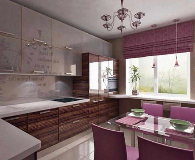 Светло-фиолетовая кухня — обратите внимание на дизайн