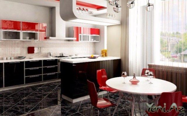 Красивая темно-светлая кухня с красными элементами