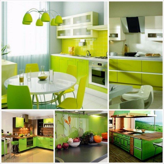 Несколько вариантов дизайн зеленой кухни