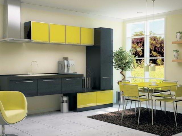Дизайн кухни с использованием трех цветов в интерьере