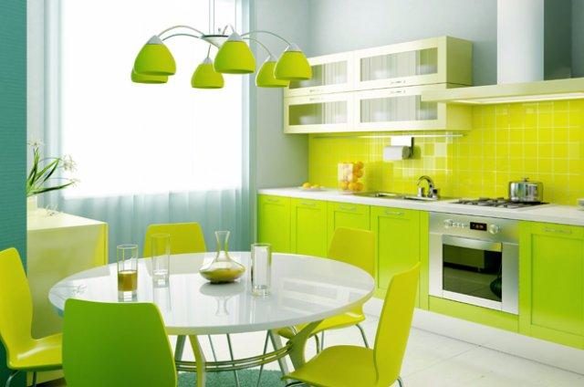 Дизайн кухни для любителей природы и сочных цветов